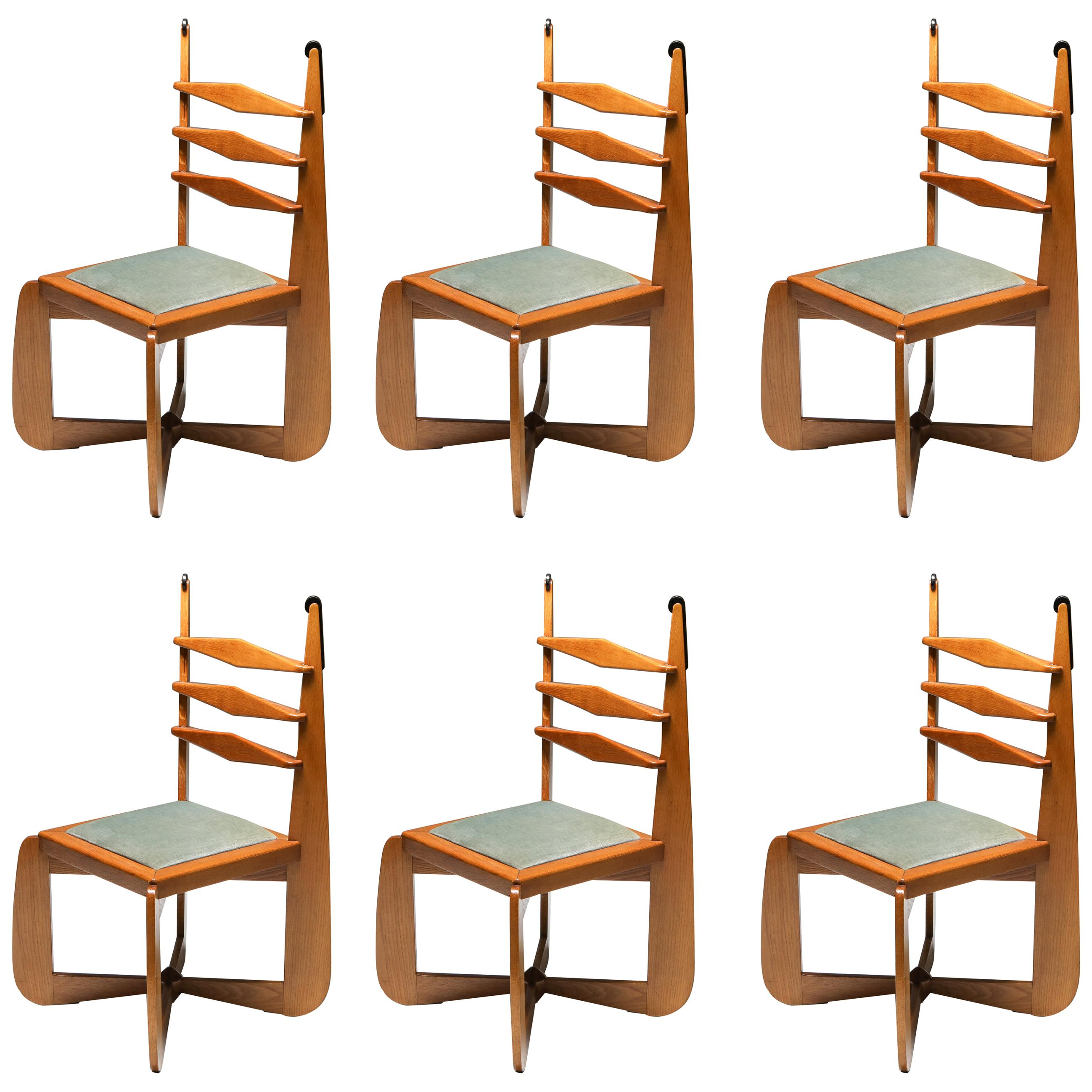 Amsterdam School Dutch Art Deco Expressive Chairs in Oak, Set of Six