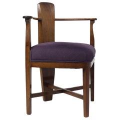 Amsterdam School Mahogany Corner Chair by Jac van den Bosch, Netherlands 1910s