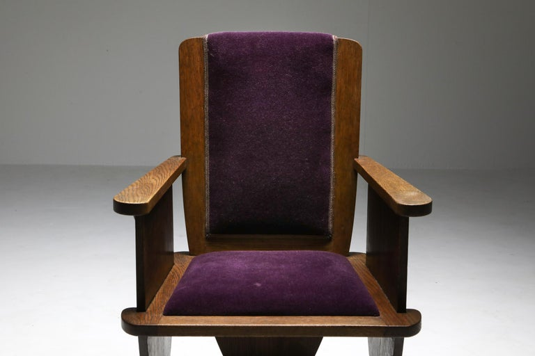 Amsterdam School Unusual Armchair with Purple Velours For Sale 3