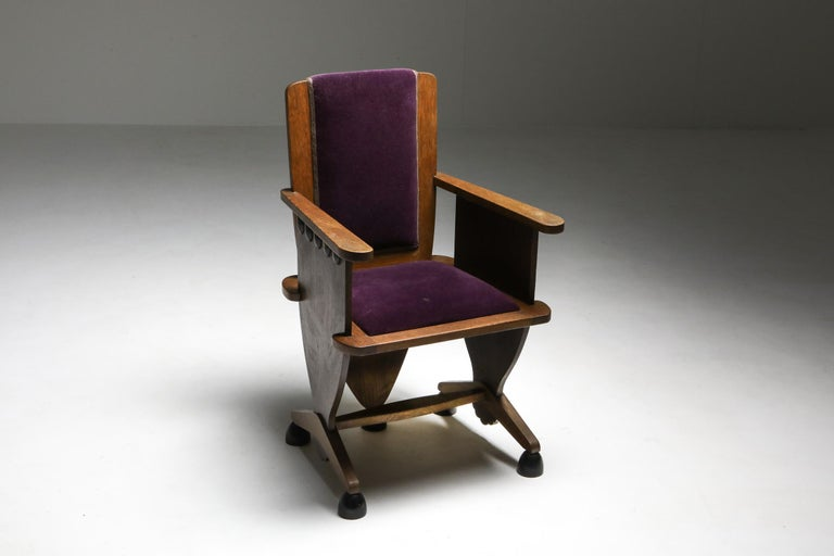 Unusual Dutch Art Deco armchair, 1930s, Netherlands