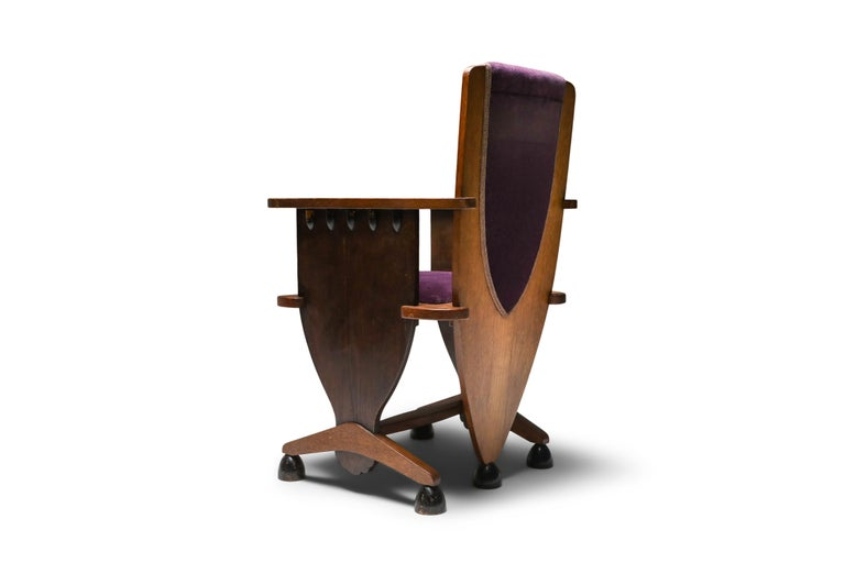 Arts and Crafts Amsterdam School Unusual Armchair with Purple Velours For Sale