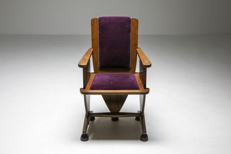 Amsterdam School Unusual Armchair with Purple Velours In Good Condition For Sale In Antwerp, BE