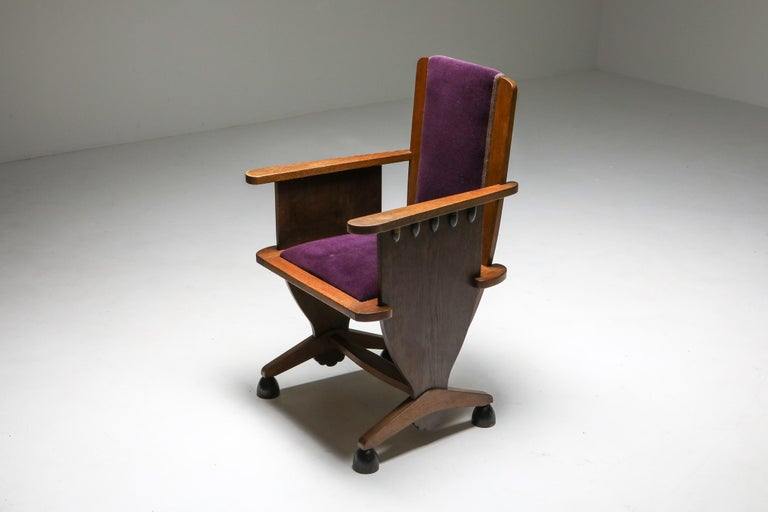 Mid-20th Century Amsterdam School Unusual Armchair with Purple Velours For Sale