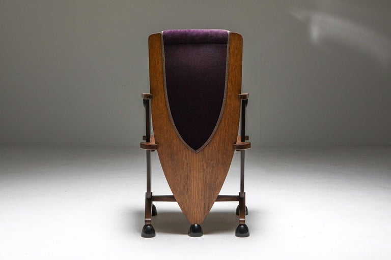 Velvet Amsterdam School Unusual Armchair with Purple Velours For Sale