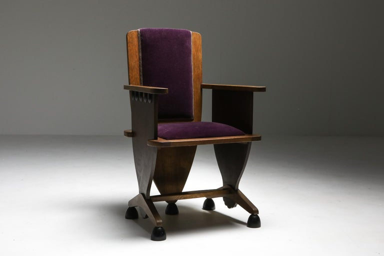 Amsterdam School Unusual Armchair with Purple Velours For Sale 2