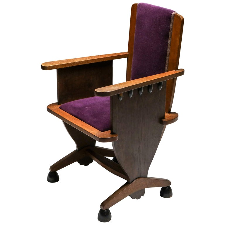 Amsterdam School Unusual Armchair with Purple Velours For Sale