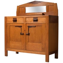 'Amsterdamse School' Art Deco Bar Cabinet in Solid Oak and Coromandel, 1930s