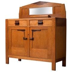 Art Deco Bar Cabinet in Solid Oak and Coromandel, 1930s