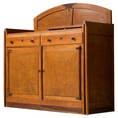 'Amsterdamse School' Art Deco Bar Cabinet in Solid Oak, the Netherlands, 1930