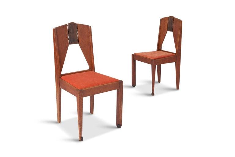 Amsterdamse School Dining Chairs In Skin Velvet At 1stdibs
