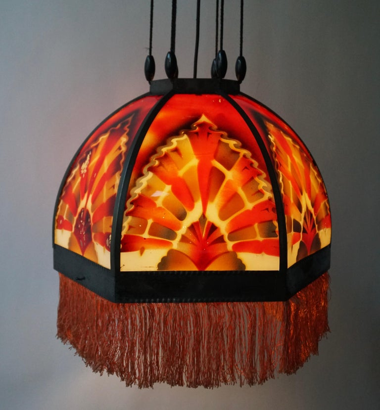 Amsterdamse School Painted Glass Art Deco Pedant Light For Sale 4