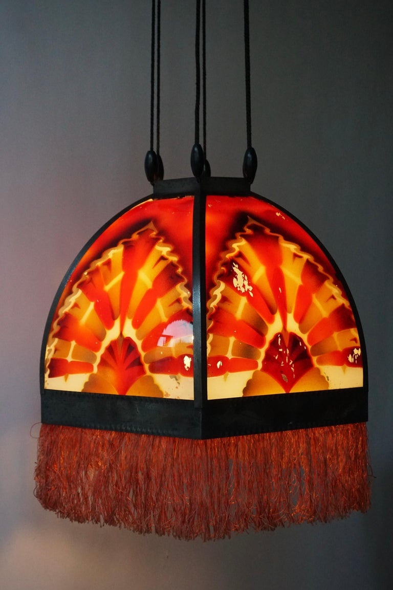 Amsterdamse School Painted Glass Art Deco Pedant Light For Sale 5