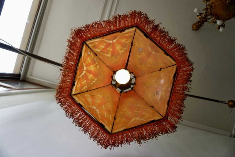 Amsterdamse School Painted Glass Art Deco Pedant Light For Sale 6