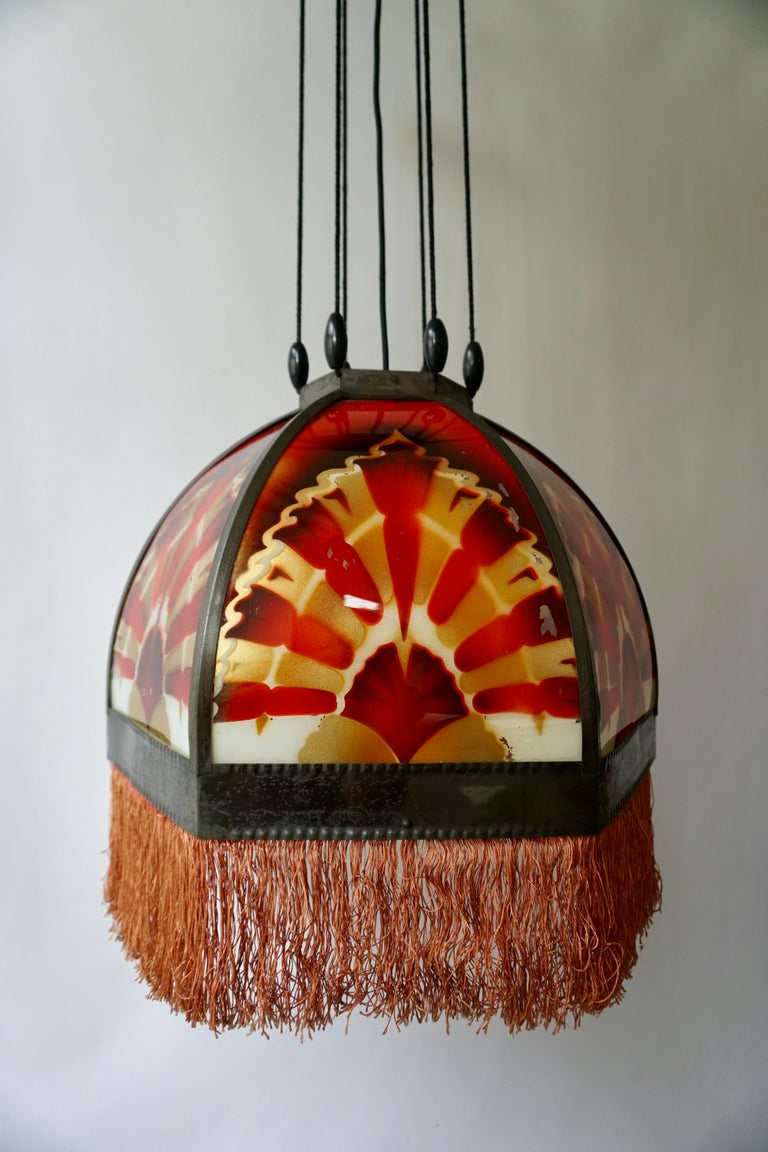 Amsterdamse School Painted Glass Art Deco Pedant Light For Sale 8