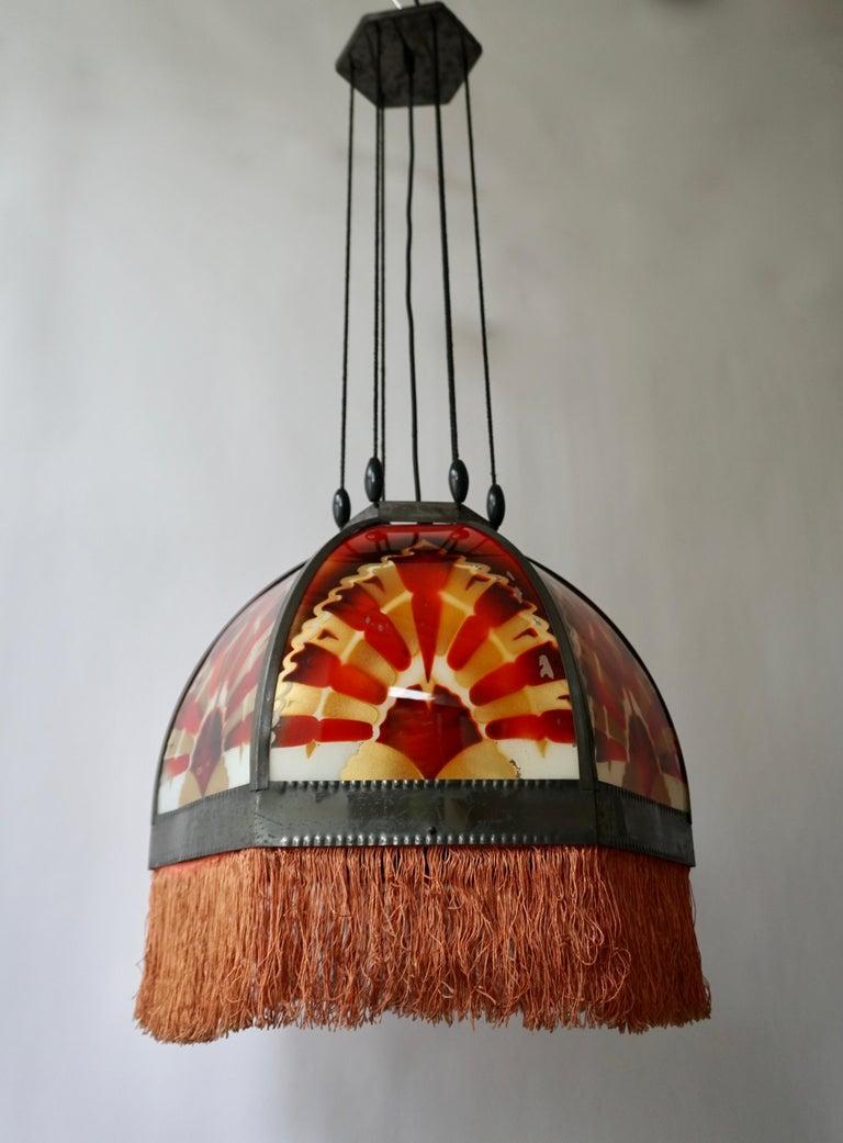 Dutch Amsterdamse School Painted Glass Art Deco Pedant Light For Sale