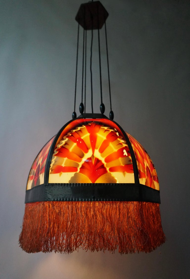 Amsterdamse School Painted Glass Art Deco Pedant Light In Good Condition For Sale In Antwerp, BE