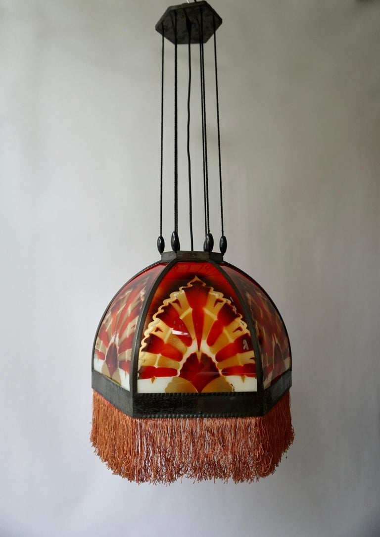 20th Century Amsterdamse School Painted Glass Art Deco Pedant Light For Sale