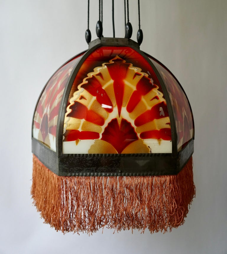 Brass Amsterdamse School Painted Glass Art Deco Pedant Light For Sale
