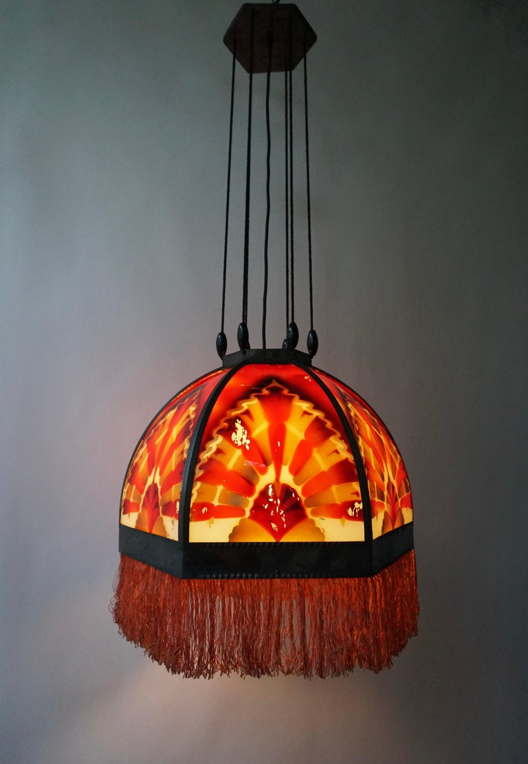 Amsterdamse School Painted Glass Art Deco Pedant Light For Sale 1