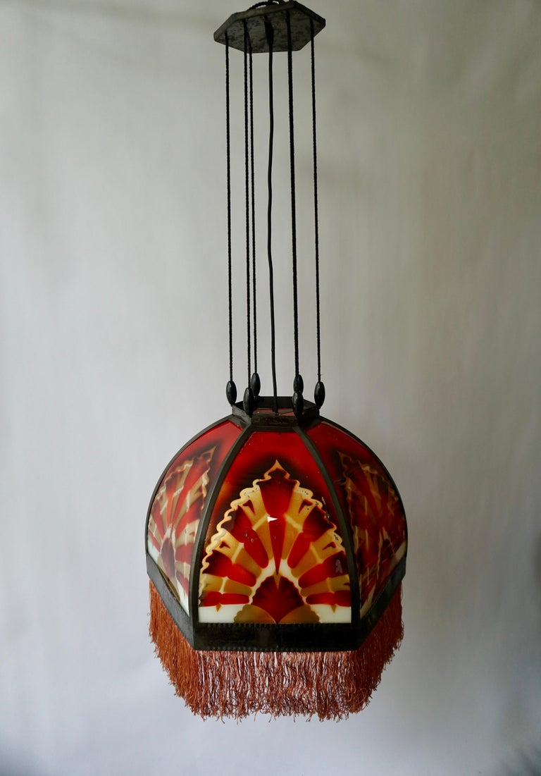Amsterdamse School Painted Glass Art Deco Pedant Light For Sale 2