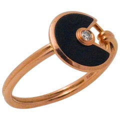 Amulette de Cartier 18 Karat Rose Gold Black Onyx Diamond Ring