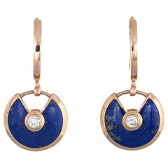 Amulette De Cartier Earrings Lapis Lazuli Diamond 18 Karat Gold Estate Jewelry