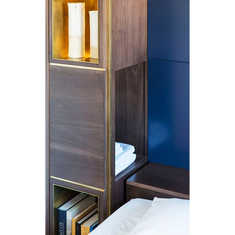 Amuneal's Murphy Bed in Silvered Walnut and Warm Brass For Sale 4