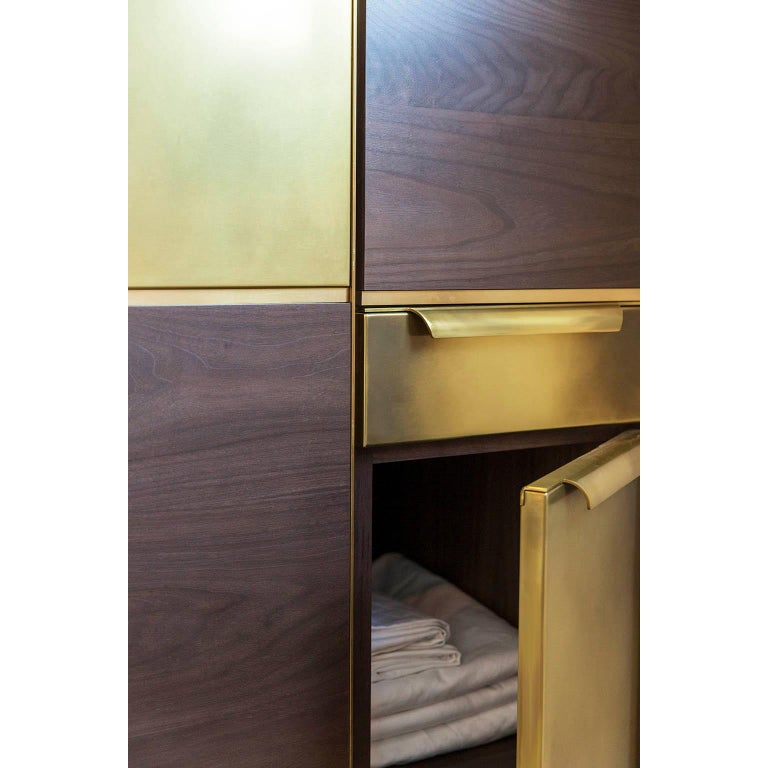 Amuneal's Murphy Bed in Silvered Walnut and Warm Brass For Sale 6