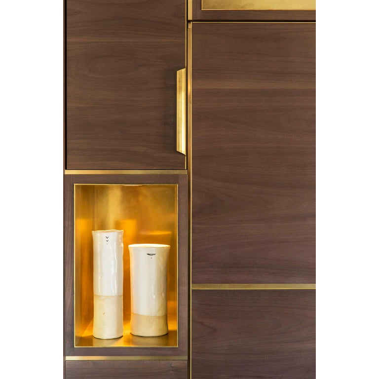 Lacquered Amuneal's Murphy Bed in Silvered Walnut and Warm Brass For Sale
