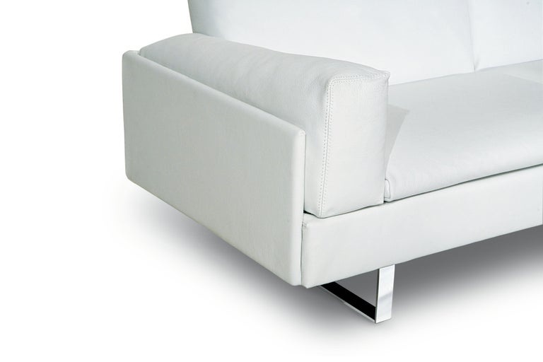 Modern Amura 'AL' Sofa in Ivory Leather by Luca Scacchetti For Sale