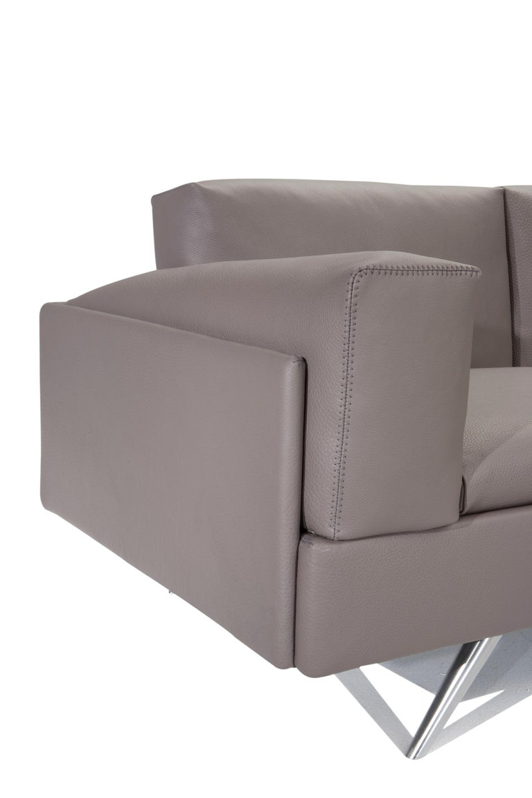Modern Amura 'AL' Sofa in Taupe Leather by Luca Scacchetti For Sale