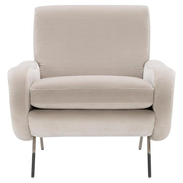 Amura Baker Armchair in Velvet For Sale