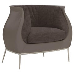 Amura Blossom Armchair in Leather and Fabric by Luca Scacchetti
