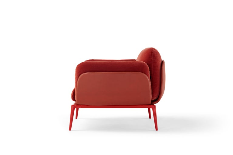 Modern Amura Brooklyn Armchair in Red Leather and Velvet by Stefano Bigi For Sale