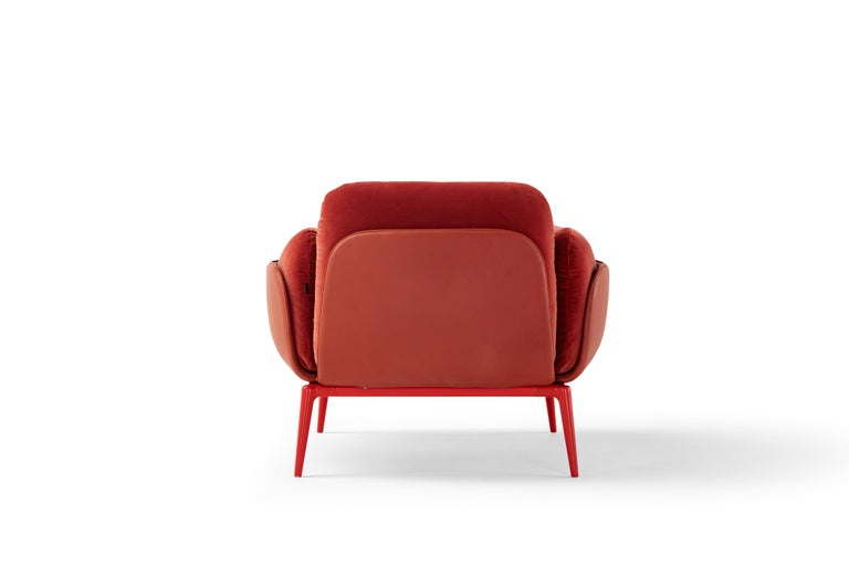 Italian Amura Brooklyn Armchair in Red Leather and Velvet by Stefano Bigi For Sale