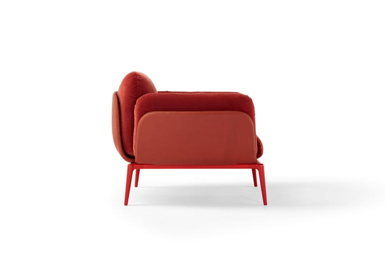 Amura Brooklyn Armchair in Red Leather and Velvet by Stefano Bigi In New Condition For Sale In GRUMO APPULA (BA), IT