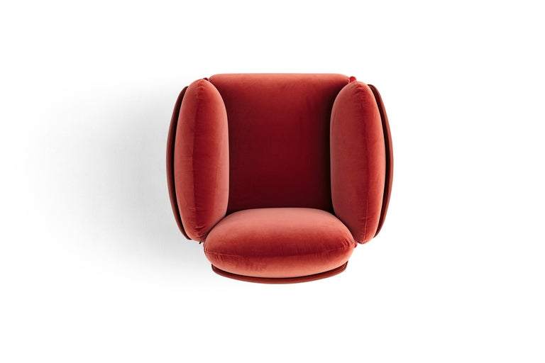Contemporary Amura Brooklyn Armchair in Red Leather and Velvet by Stefano Bigi For Sale