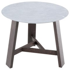 Amura 'Dogon' Round End Table in Marble and Wood by Amura Lab