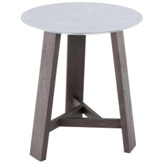 Amura 'Dogon' Round Side Table in Marble and Wood by Amura Lab