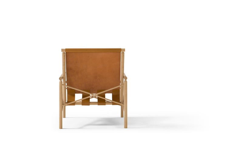 Italian Amura 'Ease' Chair in Light Brown Leather by Gareth Neal For Sale