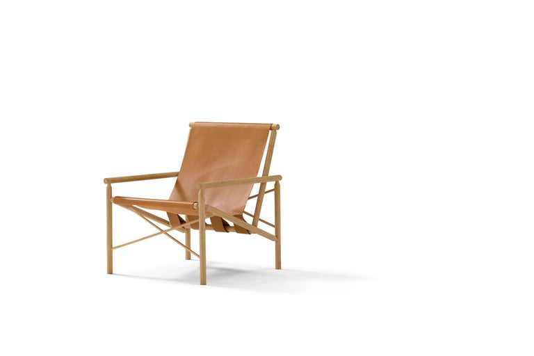 Hand-Crafted Amura 'Ease' Chair in Light Brown Leather by Gareth Neal For Sale