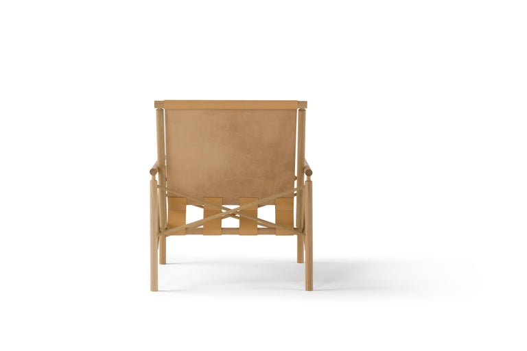 Italian Amura 'Ease' Chair in Light Tan Leather by Gareth Neal For Sale