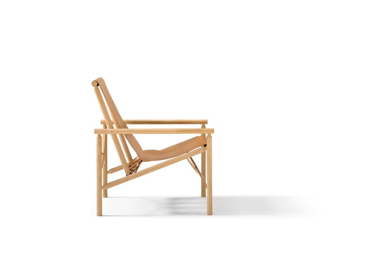 Modern Amura 'Ease' Chair in Oak and Leather by Gareth Neal For Sale