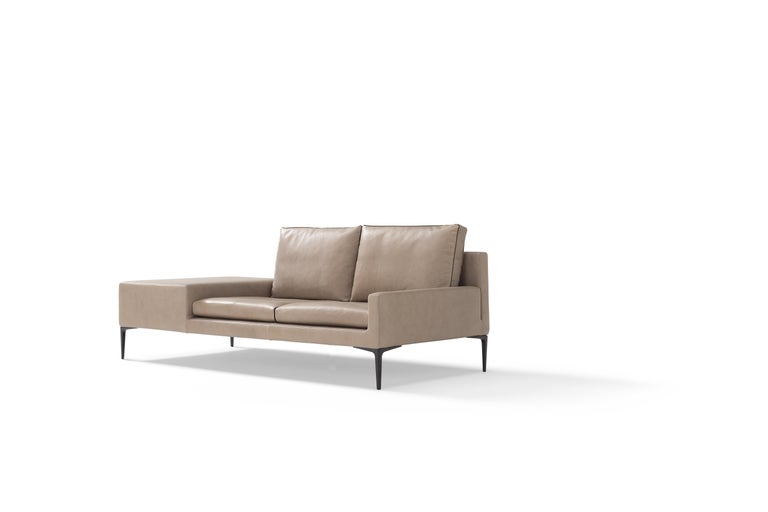 Hand-Crafted Amura 'Elsa' Sofa in Taupe with Connected Table by Luca Scachetti For Sale