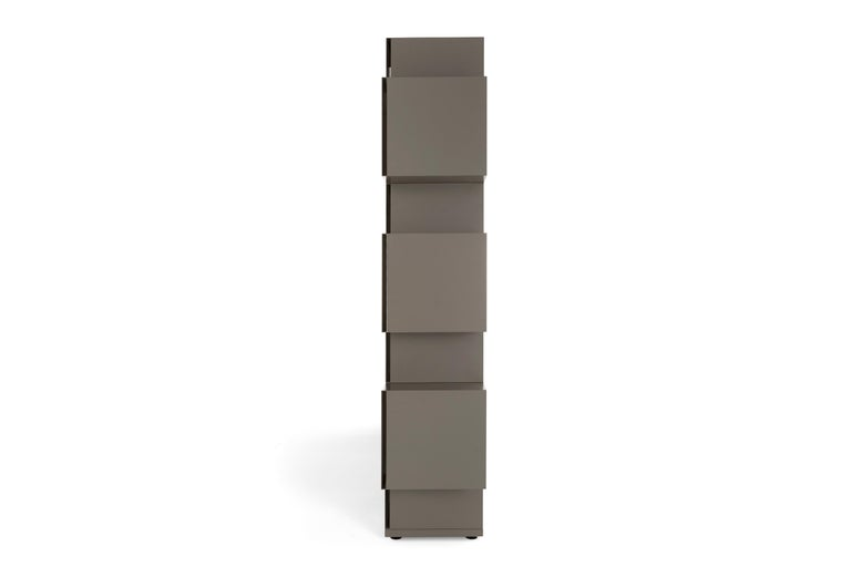 Geometry and strictness characterize this particular bookcase that combines design and functionality. In Eresia, volumes alternate in a balanced play of proportions. Cubes and parallelepipeds are spaced out with openings in a playful succession of