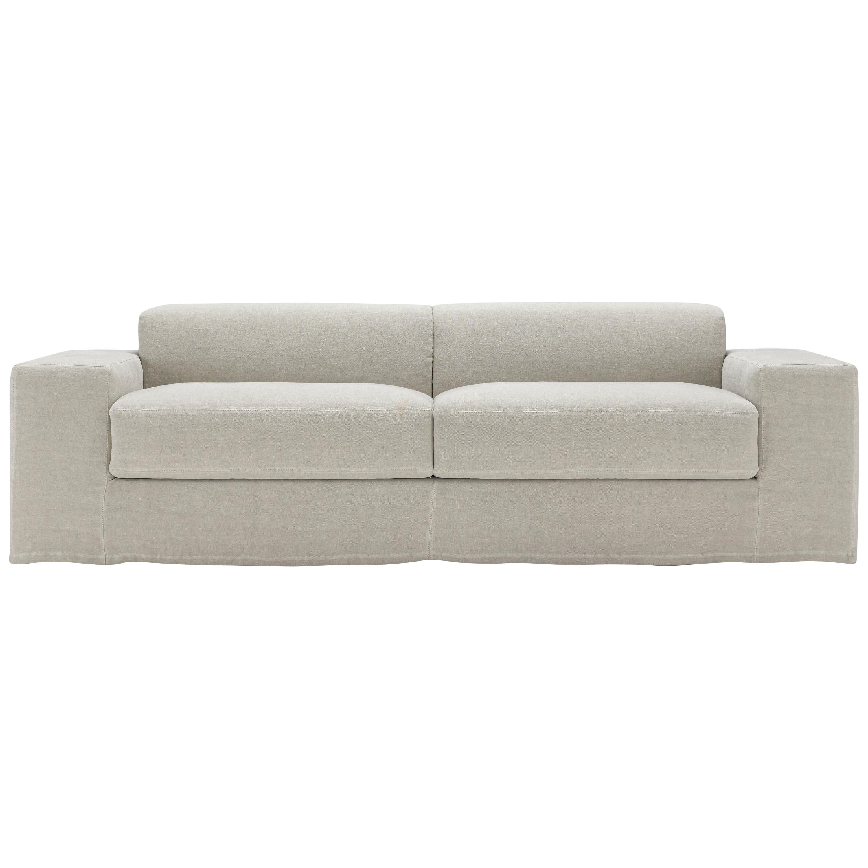 Amura Frank Sofa Bed in White Linen by Amuralab
