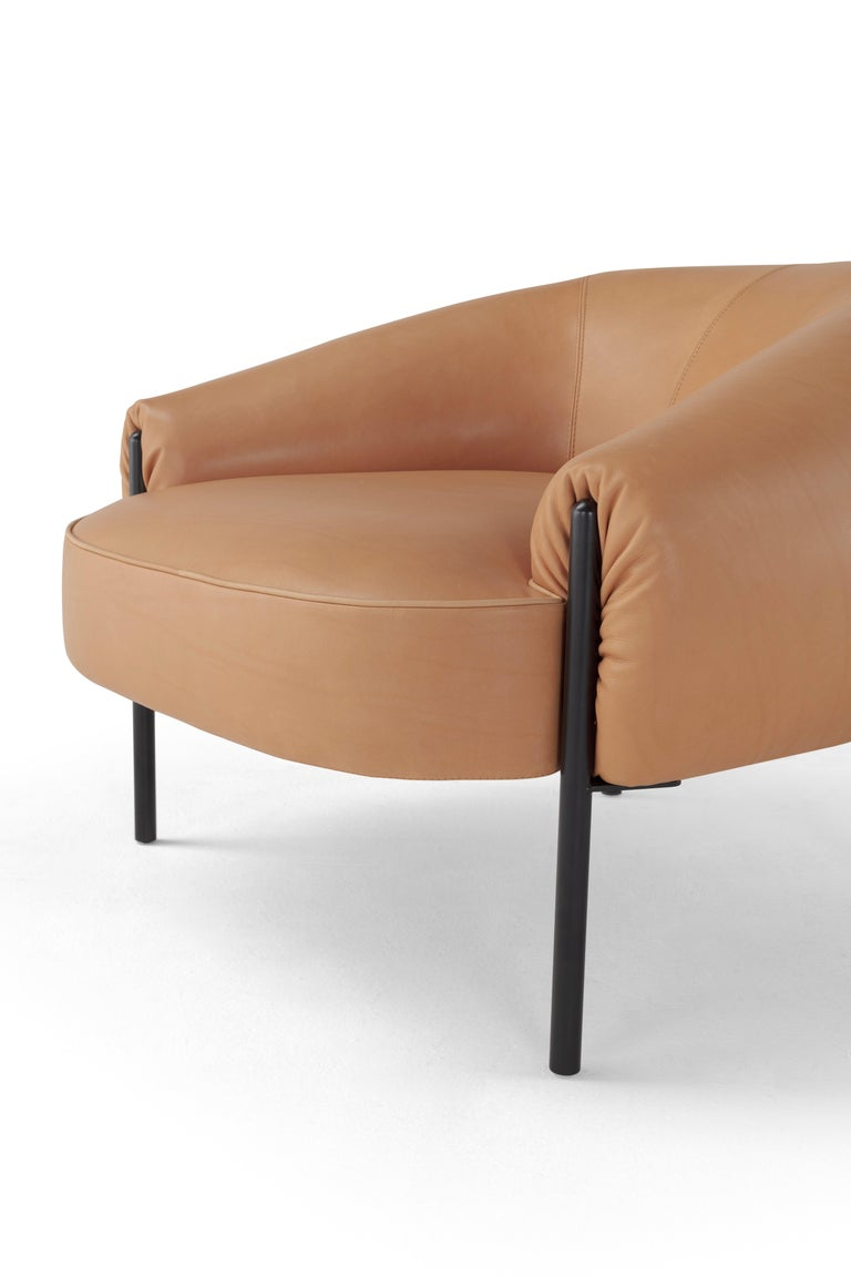 Italian Amura Isola Armchair in Brown Natural Leather Designed by Lucy Kurrein For Sale