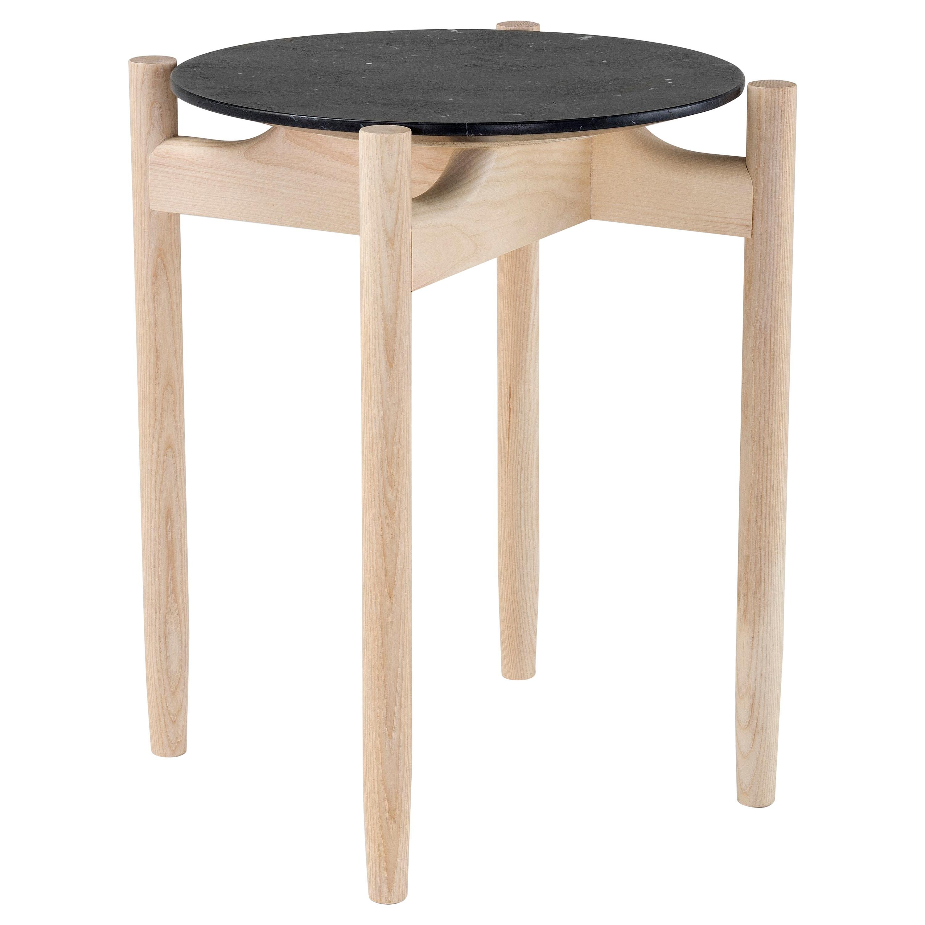 Amura Juli Small Round Coffee Table in Marble and Wood by Marconato & Zappa
