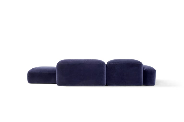 Modern Amura 'Lapis' Sofa in Blue Velvet by Emanuel Gargano & Anton Cristell For Sale
