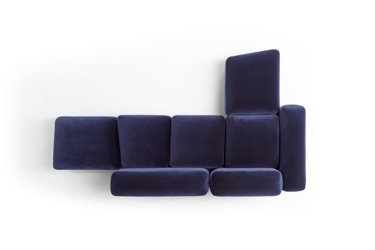 Italian Amura 'Lapis' Sofa in Blue Velvet by Emanuel Gargano & Anton Cristell For Sale